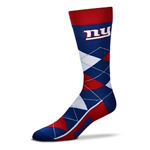 Bare Feet Clothing Store - Fore Bare Feet NFL New York Giants Argyle Unisex Crew Cut Socks - One Size Fits Most,