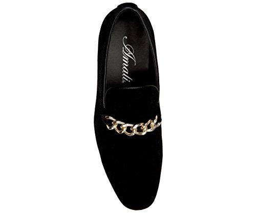 Slip Slipper Amali Formal Dress Black On Mens Shoe Velvet Smoking Loafer Crushed Nightclub Gold band xH0HgB