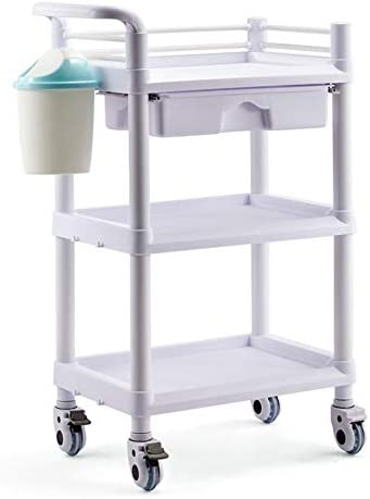 車輪の医学のカート3層の病院の医学の実用的なカート、土のバケツ&Drawersが付いている白いABS美容院装置の圧延のトロリー-54×37x98cm (Color : With drawers)