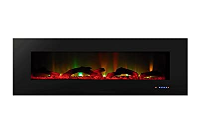 "ValueLine 60"" 10-Color, Recessed Wall Electric Fireplace, 60 Inch Wide, Logset & Crystal, 1200W Heat (Black) from Touchstone Home Products"