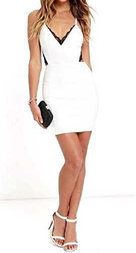 V Coolred Silm Neck Dress Spaghetti Strap Lace Evening Women Fit Office White Sexy aawx0qEr