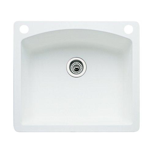(Blanco 440211-2 Diamond 2-Hole Single-Basin Drop-In or Undermount Granite Kitchen Sink, White)