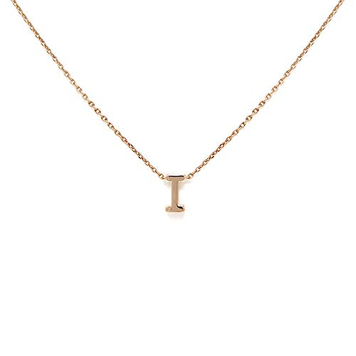 - Me Plus Petite Initial Letter Alphabet Pendant Charm Gold Dipped Necklace Gold Silver Rosegold (23 Letters) (I - Rose Gold)