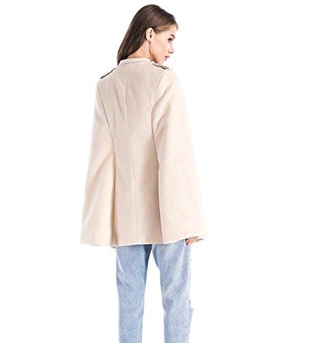 Donna Slim Eleganti Capa Autunno Blazer Giacche Fashion Monocromo Poncho Primaverile Casual Bavero Beige Moda Alla Cappotto Fit Bdqxt
