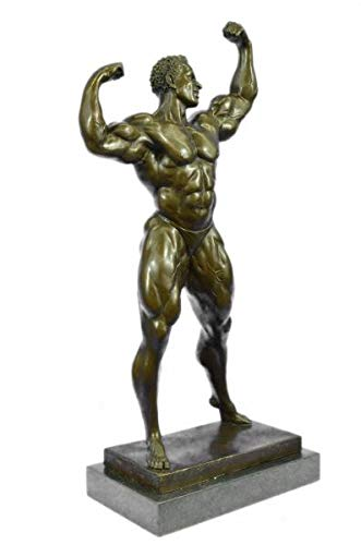 Sensational Abstract Bronze Muscle Man Flexing Sculpture Nude Male Fitness Model Muscular