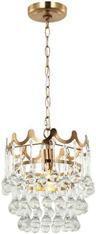 E-Like Original Drop Crystal Chandeliers Lighting,Satin Gold Finish,Crystal Pendant