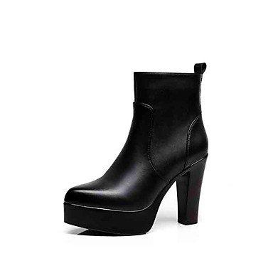 RTRY Zapatos De Mujer Microfibra Moda Otoño Invierno Botas Botas Chunky Talón Señaló Toe Botines/Botines De Cremallera Parte &Amp; Traje De Noche Negro Us7.5 / Ue38 / Uk5.5 / Cn38 US10.5 / EU42 / UK8.5 / CN43