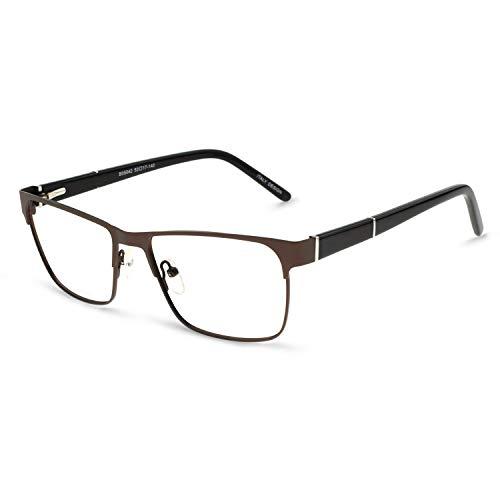 OCCI CHIARI Mens Rectangle Eyewear Full-Rim Metal Non-Prescription Clear Optical Glasses Brown