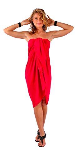 1Bañador para cover-up–Pareo de mujer Rojo