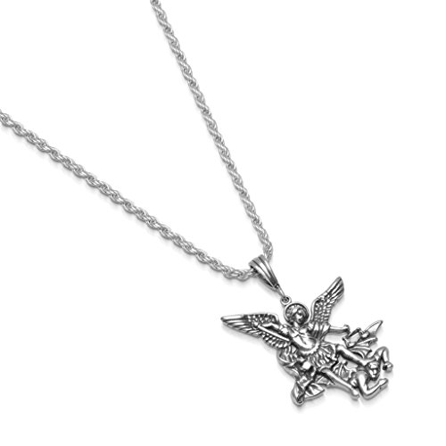 Rope 25mm Chain (Sterling Silver St. Michael Necklace Pendant Rope Chain - Medium - 2.5mm - 24 Inch)