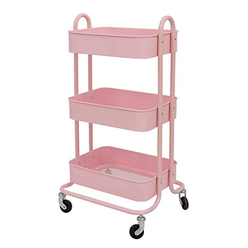 WONLINE 3-Tier Metal Rolling Storage Cart on Wheels Mobile Organizer with Utility Handle Pink