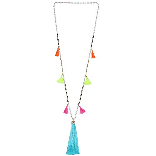 KELITCH Beaded Necklace Bib Chain Multicolor Tassel Long Strand Beach Friendship Necklace (Green C)