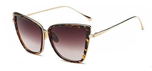 reflejadas Ventanas de Ojo Gafas C6 de Mujeres Metal de leopard Sol UV400 Cat Sunglasses en Gafas TL Gato de xFqwY7B