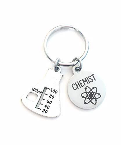 Chemist Keychain, Graduation Gift for Chemistry Student Key Chain, Grad Present Keyring