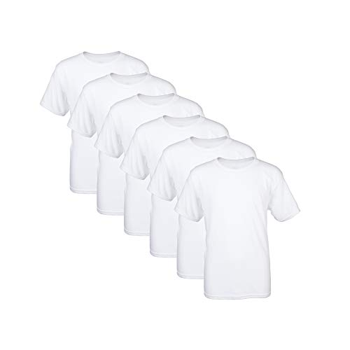Gildan Boys' Little Crew T-Shirts, 6-Pack, White, Medium