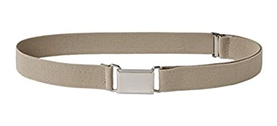 Sportoli Kids Elastic Adjustable Dress Stretch Belt with Silver Square Buckle