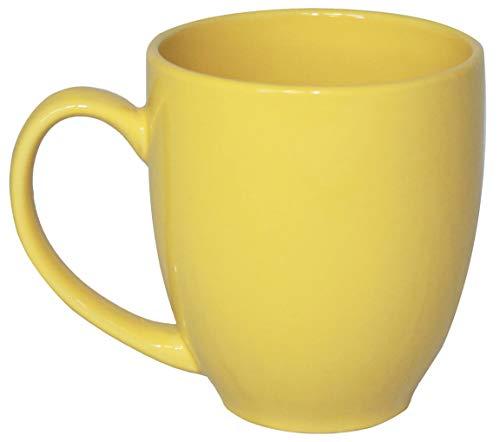 ITI Ceramic Bistro Coffee Mugs with Pan Scraper, 14 Ounce (6-Pack, Yellow)