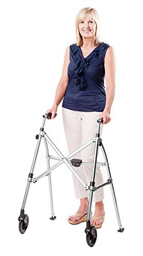 Able Life Space Saver Walker - Lightweight Folding & Height Adjustable Adult Travel Walker for Seniors + Fixed Wheels & Rear Glides - Black Walnut