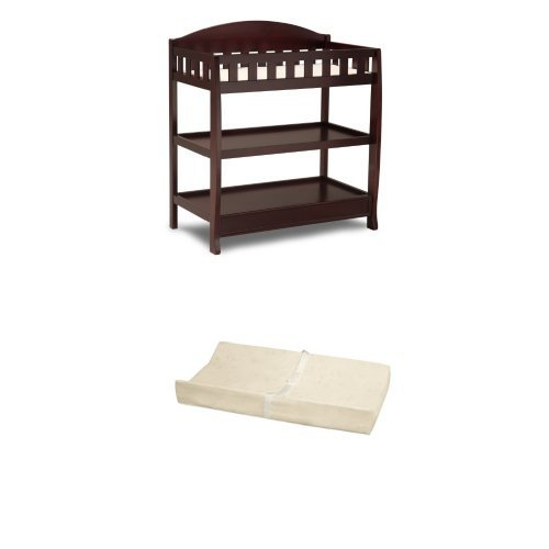 Delta Children Infant Changing Table with Pad, Espresso Cherry and Simmons Kids Beautysleep Naturally Contour Pad