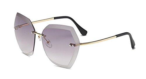 el cerco frame Sin gradient color Gold de polvo el recortar moda sol gray de marea gafas sol de GLSYJ través LSHGYJ a señoras océano gafas zn4xxw