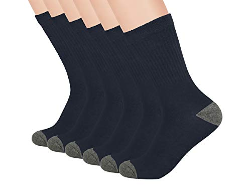 (Boys Crew Athletic Ribbed Socks - School Uniform Socks-Breathable, Cushioned - 3 and 6 Pack - White, Navy, Black - by Topfit)