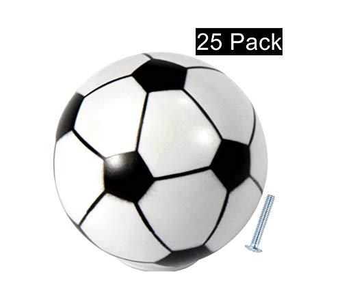 - Silverline K0003-S Cabinet Hardware Dresser Drawer Knob Soccer Sports Wardrobe Handle Pulls, 25 Pack