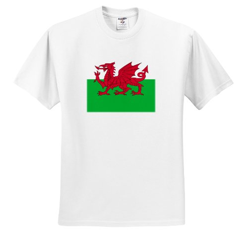 - InspirationzStore Flags - Flag of Wales - Welsh red dragon on white and green - Y Ddraig Goch UK United Kingdom Great Britain - T-Shirts - White Infant Lap-Shoulder Tee (12M)