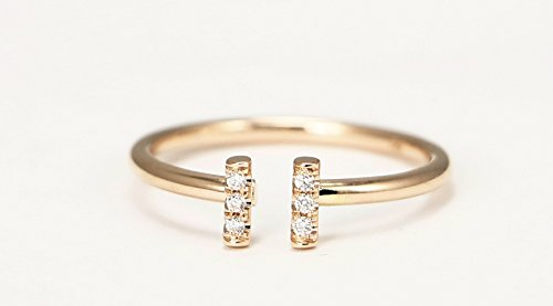 14k Rose Gold Double Bar Ring, Diamond Stacking Ring by Ice on Fire Jewelry