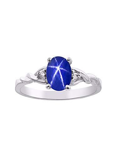 (RYLOS Simply Elegant Beautiful Blue Star Sapphire & Diamond Ring - September Birthstone )