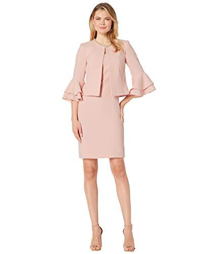 (Tahari by ASL Women's Ruffle Sleeve Open Jacket Dress Set Rose Pink 16)