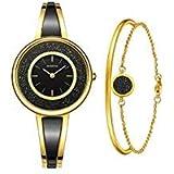 MAMONA Women's Gold-Tone Bangle Watch and Bracelet Set Black L3889BKGT