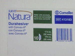 Convatec 413183 SUR-FIT Natura with CONVEX-IT Technology Two-Piece Pre-Cut, Durahesive Skin Barrier with tape collar, White, 45mm (1 3/4