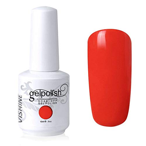 Vishine Soak-Off UV LED Gel Polish Nail Art Manicure Lacquer Orange Red Color 019