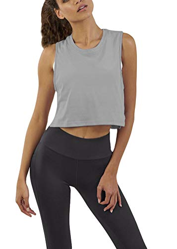 - Bestisun Sports Crop Mesh Tank Top Cute Summer Cool Yoga Muscle Shirts Workout Fitness Gym Clothes Racerback Active Tank for Athletic Women Gray XS