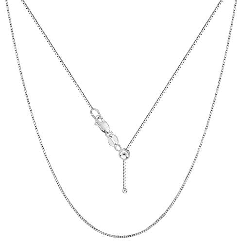 Sterling Silver 0.8MM Adjustable Box Bolo Chain for Women- Thin Adjustable Necklace in 4 Colors (Silver) ()