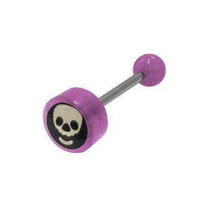 BodyJewelryOnline Skull Head Logo Barbell Tongue Ring - Purple Beads