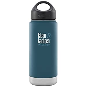 Klean Kanteen Wide Insulated Bottle with Stainless Loop Cup, Neptune Blue, 16-Ounce
