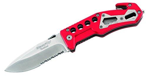 BlackFox Einhand-Rettungsmesser, Stahl 440, Teilsägezahnung,, Schlagdorn, Gurtschneider, rote Aluminium-Griffschalen, 258712