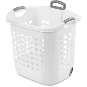 Case Of 4 Wheel Laundry Basket 1.75 Bushel In White