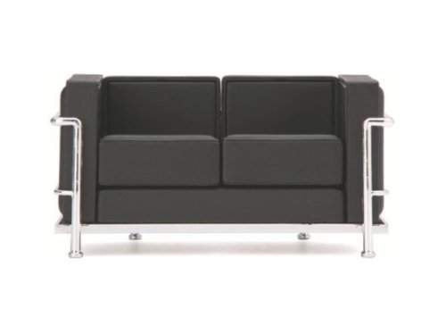 Mid Century Modern Design Miniature 1/12 Lc2 Le Corbusier Loveseat-black by ReacJapan