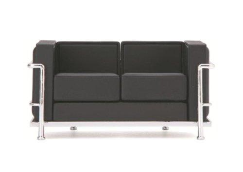 Mid Century Modern Design Miniature 1/12 Lc2 Le Corbusier Loveseat-black