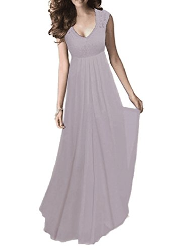 SYLVIEY Women's Vintage Lace V Neck Sleeveless Maxi Bridesmaid Evening Dress (Medium, Grey)