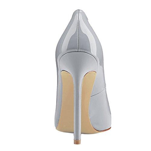Women's Heels VOCOSI Pointed Slip On Grey patent Pumps Shoes Dress Toe High Women dpww1q