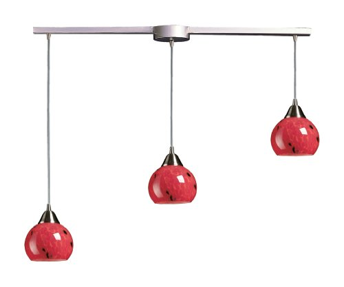 - Elk 101-3L-FR 3-Light Pendant In Satin Nickel and Fire Red Glass