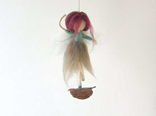 Needle Felted Ballerina Fairy Dancing On A Tree Pod, For Home Decor Or Girl Nursery, Fantasy Whimsical Handmade Figurine Art Doll -