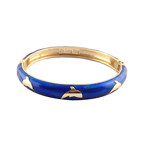 UJOY Bracelets Multicolor Golden Dolphin Enamel Indian Jewerly Handmade Open Cuff Bangle for Women 55B45 Navy Blue