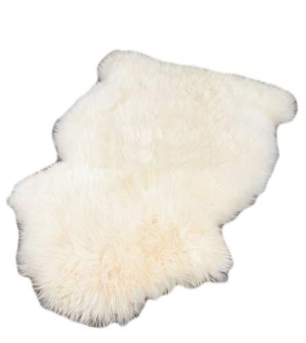 ALLNEO 1 pelt Genuine Australian Sheepskin Rug Soft Fur Premium Throw Rug White Color for Home Decor Sofa Cover Doormat for Bedside Carpet 2.5 x 3.5 ft