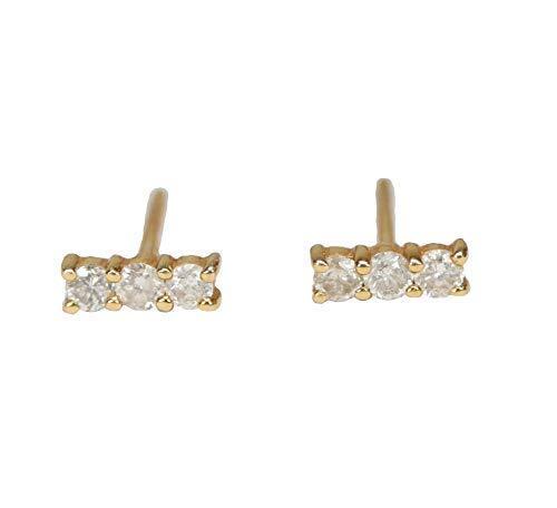 Genuine Diamond Bar Line 14k Yellow Gold Stud Staple Earring- Gift Idea