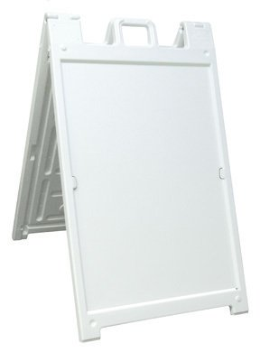 Deluxe Signicade A-Frame Sidewalk Curb Sign with Quick-Change System, White (Plastic Sidewalk Signs)