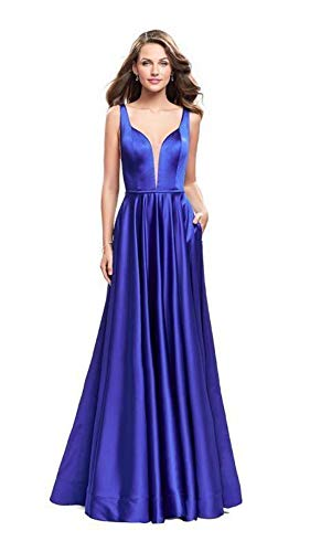 (La Femme 25455 Plunging Sweetheart Satin A-Line Gown in Sapphire Blue)